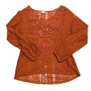 🌿EYESHADOW • Burnt Orange Lace Long Sleeve Blouse